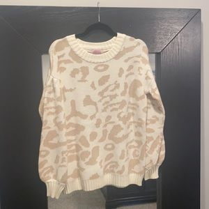 Pink Lily cheetah sweater S